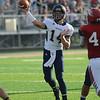 HALEY WARD | THE GOSHEN NEWS <br /> Fairfield quarterback Zac Lantz passes the ball during the game against Goshen Friday at Goshen High School.