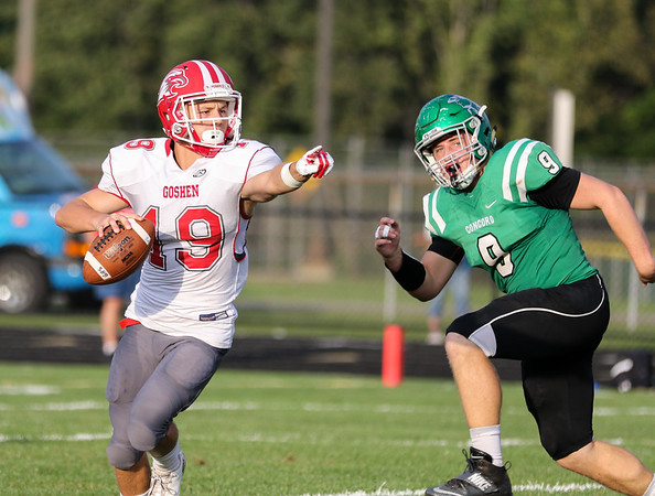 CHAD WEAVER   THE GOSHEN NEWS<br /> Goshen quarterback Charlie Collins directs a receiver as Concord linebacker Dawson Demien applies some pressure during the first quarter of Friday night's game at Concord.