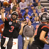 JAY YOUNG | THE GOSHEN NEWS <br /> NorthWood quarterback Trey Bilinski (3) connects with Brayton Yoder (26) on a screen pass during the 4A state championship game Friday afternoon at Lucas Oil Stadium in Indianapolis.