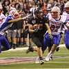 JAY YOUNG | THE GOSHEN NEWS <br /> Northwood junior Brayton Yoder finds a seam in the Roncalli defense as he bursts through for a touchdown during the 4A state championship game Friday afternoon at Lucas Oil Stadium in Indianapolis.