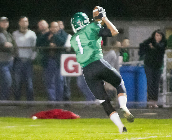 SAM HOUSEHOLDER   THE GOSHEN NEWS<br /> Concord receiver Adam Glanders catches a touchdown pass during the first quarter of the game against Northridge Friday.