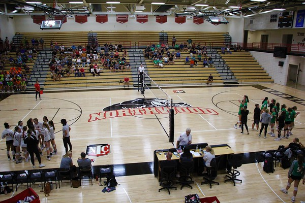 """A look at the new court installed at """"The Panther Pit"""" at NorthWood High School in Nappanee. Thursday's JV and varsity volleyball matches between NorthWood and Concord was the first time the new court had been used."""