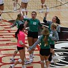 The Concord volleyball team celebrates scoring a point during their match against NorthWood Thursday at NorthWood High School in Nappanee.