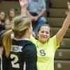 SAM HOUSEHOLDER | THE GOSHEN NEWS<br /> Northridge senior Kaitlyn Kennedy celebrates with teammates after winning a point during the regional match against Goshsen Thursday.