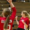 SAM HOUSEHOLDER | THE GOSHEN NEWS<br /> Goshen junior Carly Gingerich (8) celebrates with teammates, including junior Reagan Wilson (10) during the match against Northridge Thursday.