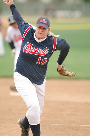 Debbie Day pitching for Maccabi against Balboa Saturday.