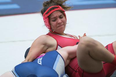 Ashley McCutcheon of San Antonio Johnson pinned Maria Rios of La Joya to win first place in the 138 pound class.