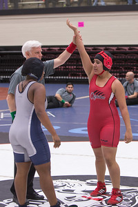 Daisy Ramirez of La Joya pinned Harmony Maitland of Killeen Shoemaker in the championship round in the 165 pound class and won first place.