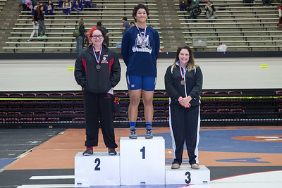 The 215 pound medalists were Kayla Gutierrez (2nd) of Palmview, Melanie Rusch (1st) of Hendrickson and Emmalee Buesinger (3rd) of Cibolo during the Final day of the Texas UIL Region 4-6A  Wrestling Tournament in San Antonio on Saturday, February 14th, 2015. PAUL BRICK FOR MISSION PROGRESS TIMES.