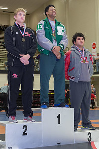 "The 220 pound medalists were Jesse Moser (2nd), Lajarius Anthony (1st) and Edgar ""Nacho"" Delgado (3rd) of Juarez Lincoln during the Final day of the Texas UIL Region 4-6A  Wrestling Tournament in San Antonio on Saturday, February 14th, 2015. PAUL BRICK FOR PROGRESS TIMES."