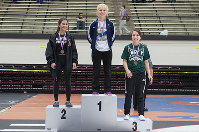 The 102 pound medalists were Alyssa Salinas (2nd) of Palmview, Anna Becera (1st) of Akins and Paloma Tijerina (3rd) of Corpus Christi King during the Final day of the Texas UIL Region 4-6A  Wrestling Tournament in San Antonio on Saturday, February 14th, 2015. PAUL BRICK FOR MISSION PROGRESS TIMES.