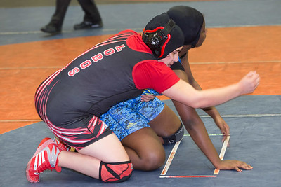 Steffany Rosas of Palmview was defeated by Chloe Quarrells in the 185 pound class during the final day of the UIL Region 4-6A Wrestling Tournament in san Antonio on Saturday, February 14th, 2015. PAUL BRICK FOR PROGRESS TIMES.