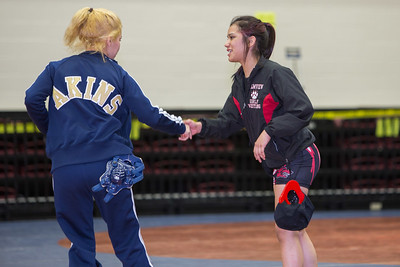 Alyssa Salinas of Palmview faced Anna Becera of Austin Akins in the 102 pound class during the final day of the UIL Region 4-6A Wrestling Tournament in San Antonio on Saturday, February 14th, 2015. PAUL BRICK FOR PROGRESS TIMES.