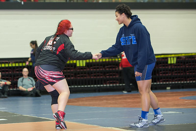Keyla Gutierrez of Palmview faced Melanie Rusch of Hendrickson in the 215 pound class during the final day of the UIL Region 4-6A Wrestling Tournament in San Antonio on Saturday, February 14th, 2015. PAUL BRICK FOR PROGRESS TIMES.