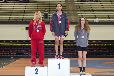 The 98 pound medalists were Leslie Oliva (2nd) of Juarez Lincoln, Angelina Gomez (1st) of San Antonio Lee and Gabby Prado (3rd) of Corpus Christi King during the Final day of the Texas UIL Region 4-6A  Wrestling Tournament in San Antonio on Saturday, February 14th, 2015. PAUL BRICK FOR PROGRESS TIMES.