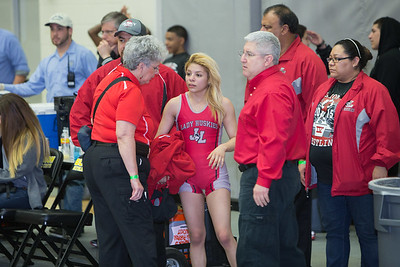 Leslie Oliva was defeated by Angelina Gomez of San Antonio Lee in the 95 pound class during the final day of the UIL Region 4-6A Wrestling Tournament in san Antonio on Saturday, February 14th, 2015. PAUL BRICK FOR PROGRESS TIMES.