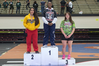 The 165 pound medalists were Daisy Ramirez (2nd) of La Joya, Harmony Maitland (1st) of Killeen Shoemaker and Sally Ochoa (3rd) of Mission during the Final day of the Texas UIL Region 4-6A  Wrestling Tournament in San Antonio on Saturday, February 14th, 2015. PAUL BRICK FOR MISSION PROGRESS TIMES.