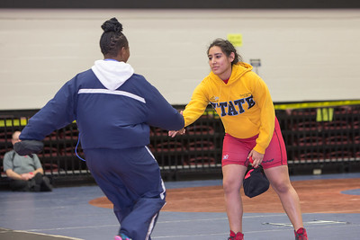 Daisy Ramirez of La Joya faced Harmony Maitland of Killeen Shoemaker in the 165 pound class during the final day of the UIL Region 4-6A Wrestling Tournament in San Antonio on Saturday, February 14th, 2015. PAUL BRICK FOR PROGRESS TIMES.