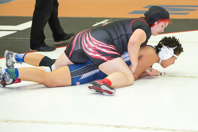 Keyla Gutierrez of Palmview was defeated by Melanie Rusch of Hendrickson in the 215 pound class during the final day of the UIL Region 4-6A Wrestling Tournament in San Antonio on Saturday, February 14th, 2015. PAUL BRICK FOR PROGRESS TIMES.