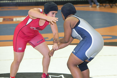 Daisy Ramirez of La Joya was defeated by Harmony Maitland of Killeen Shoemaker in the 165 pound class during the final day of the UIL Region 4-6A Wrestling Tournament in San Antonio on Saturday, February 14th, 2015. PAUL BRICK FOR PROGRESS TIMES.