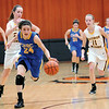 CHBC's Ava Paruelski triggers a fast break while being trailed by Dieterich's Candace NIemerg.
