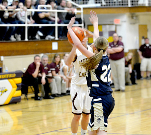 Teutopolis' Danielle Repking attempts to block a shot and closes out on Mt. Carmel's Tyra Buss.