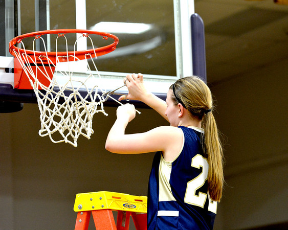 Teutopolis' Danielle Repking cuts down the nets at Casey-Westfield High School after the Lady Shoes won the Class 2A C-W Sectional against Mt. Carmel.