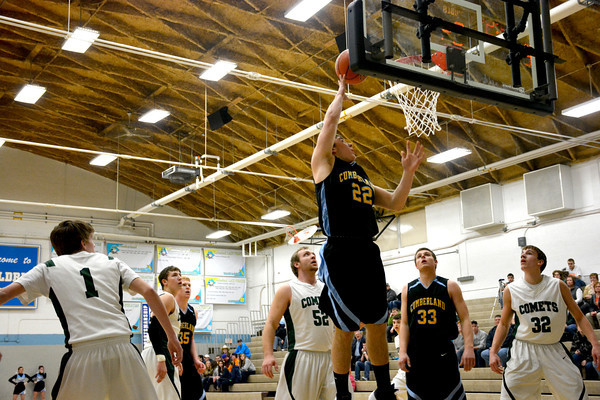 Monte Wolke goes for a layup at the basket during Cumberland's overtime loss to Stew-Stras at the Cumberland Sectional.