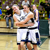 Teutopolis' Anna Hartke (left) embraces Madeline Hartke after the Lady Shoes bested Breese Central at the Salem Super-Sectional and clinched a berth in the state tournament.