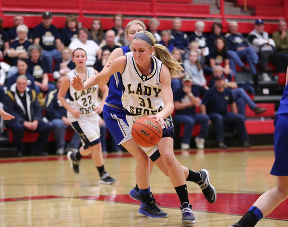 Teutopolis' Anna Hartke dribbles past her defender and into the lane against Greenville.