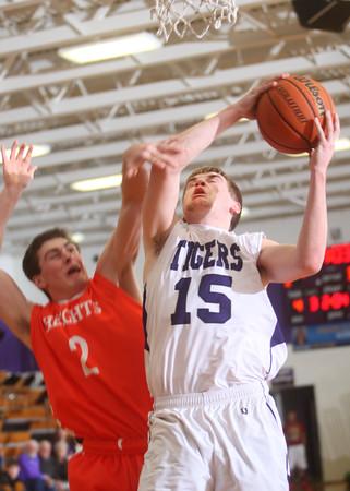 2-17-15<br /> Northwestern vs Hamilton Heights basketball<br /> Northwestern's Jacob Wagner goes up to the basket.<br /> Kelly Lafferty Gerber | Kokomo Tribune