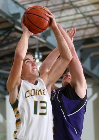 2-20-15<br /> Eastern vs Northwestern basketball<br /> Eastern's Braden Evans shoots.<br /> Kelly Lafferty Gerber | Kokomo Tribune