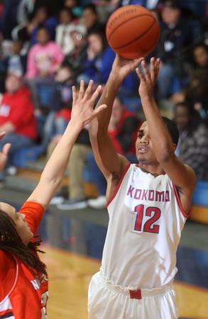 2-27-15<br /> Kokomo vs Northrop basketball<br /> Kokomo's Jordan Matthews shoots.<br /> Kelly Lafferty Gerber | Kokomo Tribune