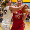 Teutopolis' Danielle Repking battles Vandalia's Leah Francis for the ball  at the Class 2A Cumberland Regional.