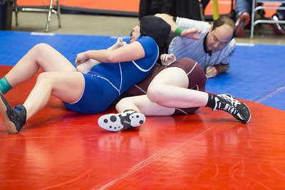 Leslie Alaniz of Mission Veterans pinned Sarah Drake of New Waverly in the 148 pound class during the final day of the Texas UIL State Wrestling Tournament in Garland on Saturday, February 21st, 2015. PAUL BRICK FOR PROGRESS TIMES.