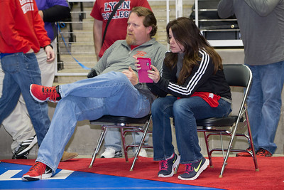 Sharlyand Head Coach James Penbrook works the corner during preliminary action at the UIL Texas State Wrestling Tournament in Garland on Friday, February 20th, 2015. PAUL BRICK FOR PROGRESS TIMES.