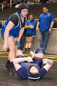Klarissa Blanco of Mission Veterans pinned Marissa DeMattia of Frisco Wakeland in the 185 pound class during the final day of the Texas UIL State Wrestling Tournament in Garland on Saturday, February 21st, 2015. PAUL BRICK FOR PROGRESS TIMES.
