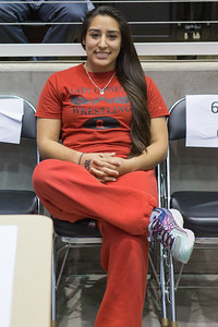 Daisy Ramirez of La Joya relaxes after winning 5th place during the Texas UIL State Wrestling Tournament in Garland on Saturday, February 21st, 2015. PAUL BRICK FOR PROGRESS TIMES.