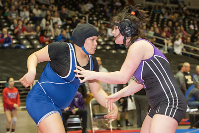 Klarissa Blanco of Mission Veterans fought a very tough battle with Haylee McCrary of Humble but was defeated 10-9 during the final day of the Texas UIL State Wrestling Tournament in Garland on Saturday, February 21st, 2015. PAUL BRICK FOR PROGRESS TIMES.