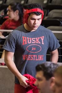 "Edgar ""Nacho"" Delgado of Juarez Lincoln prepares for his 220 pound class bout during the final day of the Texas UIL State Wrestling Tournament in Garland on Saturday, February 21st, 2015. PAUL BRICK FOR PROGRESS TIMES."