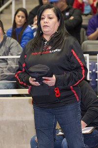 Palmview Girls Wrestling Head Coach Isabel Hernandez supports Alyssa Salinas during the final day of the Texas UIL State Wrestling Tournament in Garland on Saturday, February 21st, 2015. PAUL BRICK FOR PROGRESS TIMES.