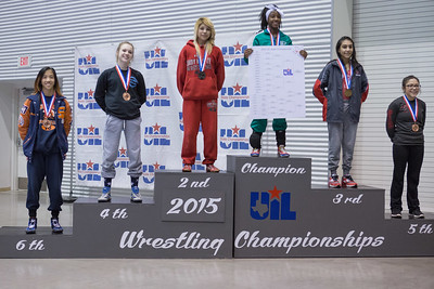 The 95 pound 6A medal winners are Racheal Aquino (Seven Lakes), Kaitlyn Banas (Houston Cypress Ranch), Leslie Oliva (Juarez Lincoln), Asia Ray (Arlington Martin), Angelina Gomez (San Antonio Lee) and Mariah Lomas (Tascosa),  during the Texas UIL State Wrestling Tournament in Garland on Saturday, February 21st, 2015. PAUL BRICK FOR PROGRESS TIMES.