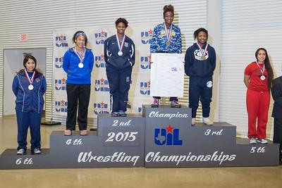 The 6A, 165 pound medal winners were Brandi Dominguez (El Paso Coronado),  Eboni Johnson (Clear Springs), Harmony Maitland (Shoemaker), Kijhla Evans (Klein), Abbi Rhodes (Cypress Creek) and Daisy Ramirez (La Joya) during the Texas UIL State Wrestling Tournament in Garland on Saturday, February 21st, 2015. PAUL BRICK FOR PROGRESS TIMES.