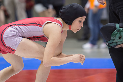 Leslie Oliva of Juarez Lincoln won the silver medal in the 95 pound class during the Texas UIL State Wrestling Tournament in Garland on Saturday, February 21st, 2015. PAUL BRICK FOR PROGRESS TIMES.