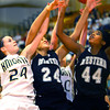 3-1-14  ---  Semi State girls basketball between Western HS and Norwell HS with western winning 41-31. Rebounding are Norwell's Stephanie Conrad and Western's Siera Daniel and Raven Black. -- <br /> KT photo | Tim Bath