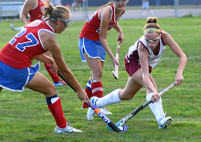 Shikellamy's Cori Lahr drives the ball past the reach of Selinsgrove's Megan Wetzel Thursday Sept. 6, 2012 during their game in Sunbury.