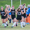 Oakmont players celebrate their first goal in the Fast Break Field Hockey championship game at Doyle Field on Wednesday, Aug. 17, 2016. Oakmont won the title showdown, 3-2. SENTINEL&ENTERPRISE/ Jim Marabello