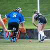 Oakmont's Kelsey Rasmussen taps in the first goal of the game late in the first half against Lunenburg goalkeeper Olivia Kelley in the Fast Break Field Hockey Summer League Championship Game at Doyle Field. SENTINEL&ENTERPRISE/ Jim Marabello