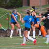 Lunenburg's Libby Walsh blocks a shot in front of her net to keep the Blue Knights in the game against Oakmont  during the Fast Break Field Hockey Summer League Championship Game at Doyle Field. SENTINEL&ENTERPRISE/ Jim Marabello