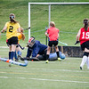 North Middlesex goalie Rachel Record makes a save during the scrimmage against St. Bernard's on Thursday afternoon at Doyle Field. SENTINEL & ENTERPRISE / Ashley Green